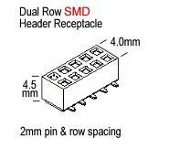 2x 57102-F08-05ULF Pin Strip Line-Plate Male miniTek 2mm Pin 10 THT