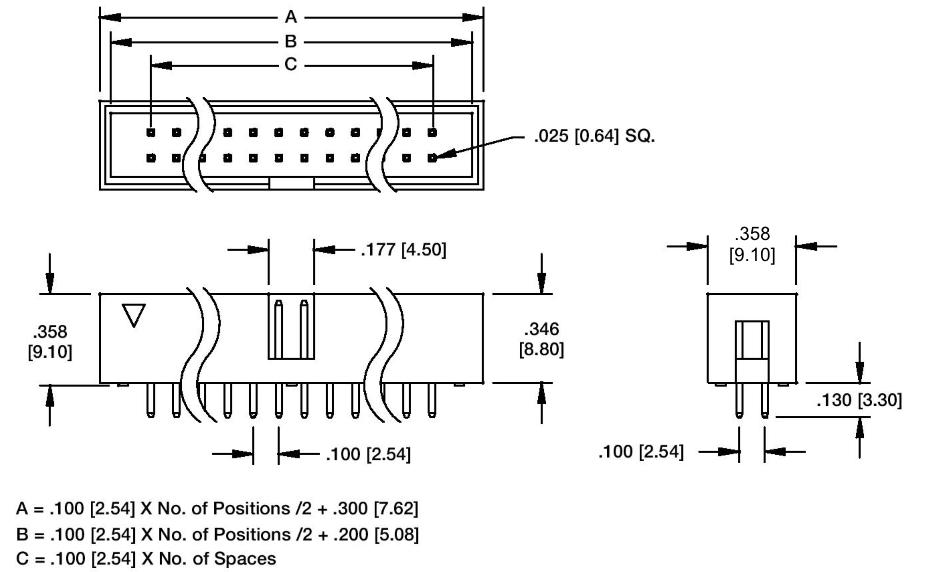 14 Pin Box Header 1 Quot Sp Straight Phoenix Enterprises Pe