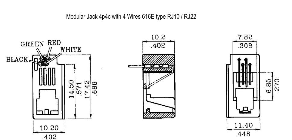 rj22 wiring diagram modular jack 4p4c with 4 wires phoenix enterprises pe  modular jack 4p4c with 4 wires phoenix