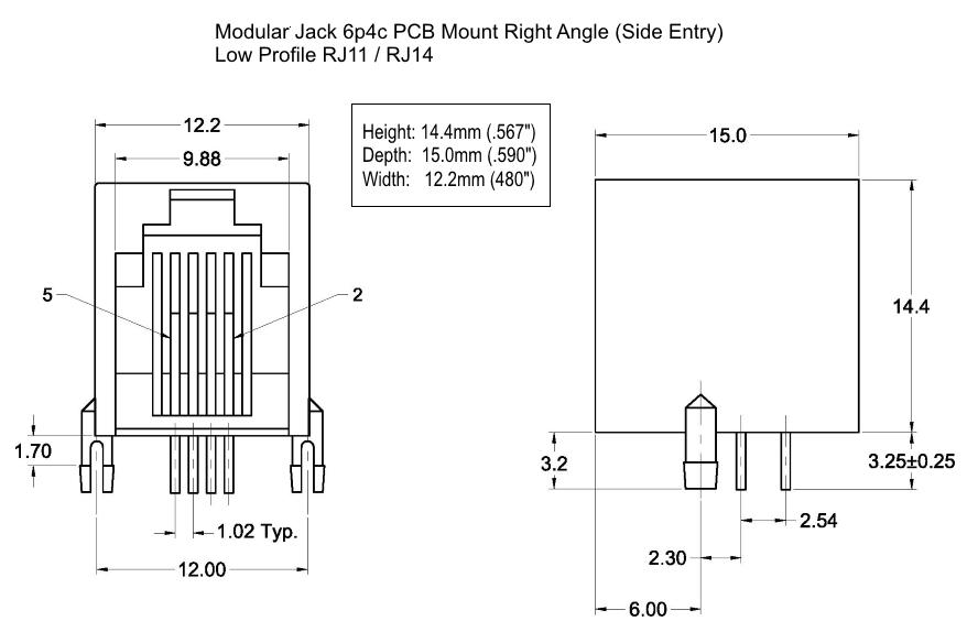 modular jack 6p4c r a lp gray phoenix enterprises pe. Black Bedroom Furniture Sets. Home Design Ideas