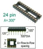 "24 pin DIP IC Socket Machined round pins .300"" row width"